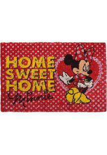 """Capacho Minnie® """"Home Sweet Home"""" - Vermelho & Amarelo"""