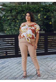 Blusa Ombro A Ombro Almaria Plus Size Peri Bege