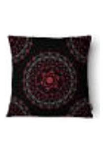 Capa Para Almofada Mandala Veludo 43X43Cm Preto E Vermelho