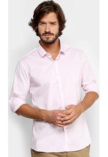 Camisa Calvin Klein Slim Fit Lisa Stretch Masculina - Masculino-Rosa Claro