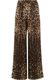 Dolce & Gabbana Calça Pantalona De Seda Animal Print - Marrom