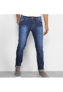Calça Jeans Skinny Coffee Estonada Básica Masculina - Masculino-Azul
