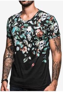 Camiseta Hermoso Compadre Falling Skulls Masculina - Masculino-Preto