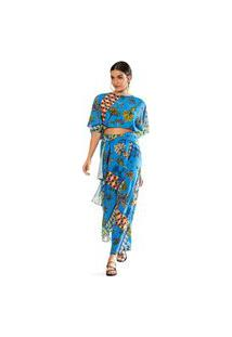 Calça Morena Rosa Pantacourt Cós Alto Detalhe Sobreposição Azul