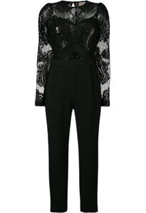 Michael Michael Kors Sequin Embroidered Jumpsuit - Preto