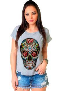 Camiseta Shop225 Caveira Colorida Mescla - Cinza - Feminino - Dafiti