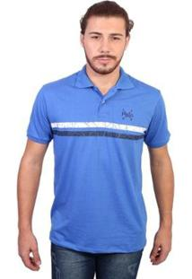 Camisa Polo England Polo Club Listrada Masculina - Masculino-Azul Royal