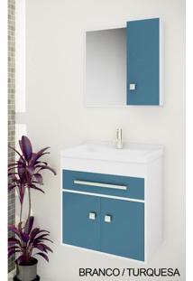 Gabinete Para Banheiro Kit Vegas 50Cm - Balcão + Espelheira + Marmorite - Branco Turquesa