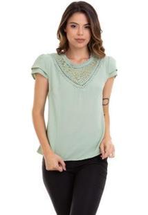 Blusa Kinara Crepe Renda No Decote Feminina - Feminino-Marrom+Verde Limão