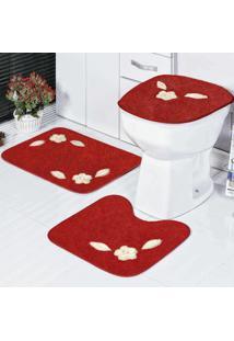 Jogo Banheiro Dourados Enxovais Margarida Unica 3 Peças Vermelho