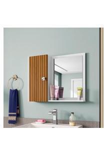 Espelheira Armário Ripado 1 Porta Móveis Bechara Gênova Branca