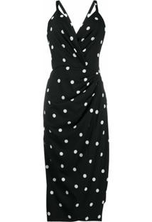 Dolce & Gabbana Vestido Slim Drapeado Com Poás - Preto