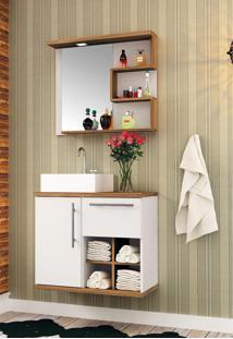 Conjunto Para Banheiro Veneza Susp Branco/Nogal Bosi - Tricae
