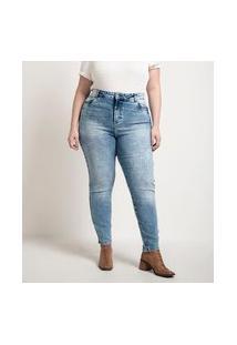 Calça Push Up Skinny Jeans Marmorizada Curve & Plus Size | Ashua Curve E Plus Size | Azul | 54