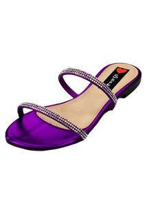 Sandalia Rasteira Love Shoes Bico Redondo Tiras Strass Delicado Roxo
