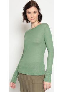Blusa Lisa Com Linho- Verde Clarola Chocolãª