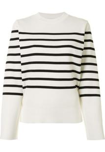 Akira Naka Cut-Out Striped Pullover - Branco