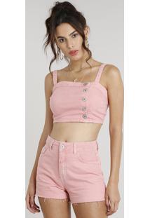 Top Cropped De Sarja Feminino Com Botões Rosa