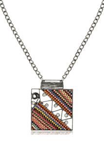 Colar Le Diamond Prata Envelhecida Com Maxi Pingente Quadrado