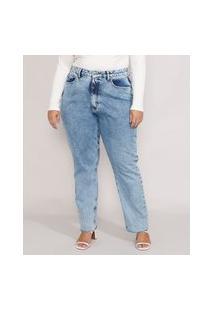 Calça Jeans Feminina Plus Size Mindset Reta Loose Copenhagen Cintura Super Alta Azul Médio Marmorizado