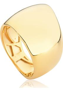 Anel De Prata 925 Com Banho Dourado Organic 3 Liso Polido-Coleção Inizio