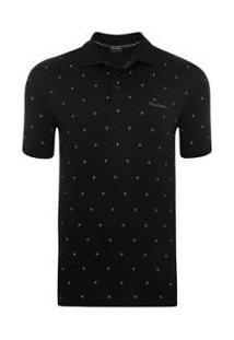 Camisa Polo Pierre Cardin Print Masculina - Masculino-Preto