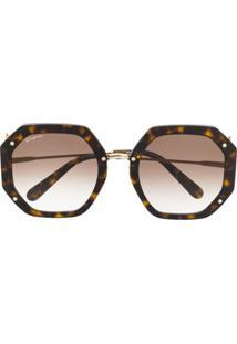 Salvatore Ferragamo Geometric Frame Sunglasses - Marrom