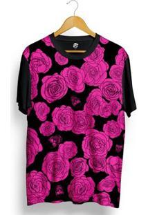 Camiseta Bsc Pink Flower And Skull Full Print - Masculino-Preto
