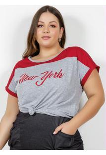 Blusa Mescla E Vermelha Com Estampa Plus Size
