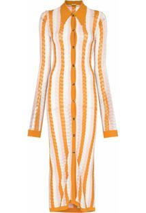 Dodo Bar Or Vertical-Stripe Midi Shirtdress - Laranja