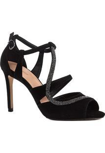 Sandália Couro Shoestock Salto Fino Cristal Feminina