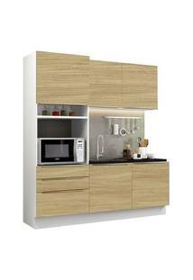 Cozinha Compacta Madesa Lux Com Armário E Balcão 5 Portas 3 Gavetas Branco/Carvalho Branco