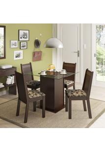 Conjunto De Mesa Com 4 Cadeiras Lucy Tabaco E Bege
