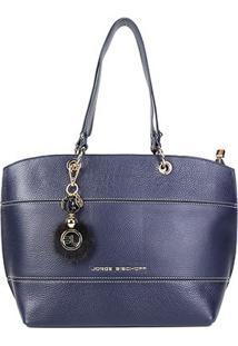 Bolsa Couro Jorge Bischoff Shopper Floater Com Charm Bag Feminina - Feminino-Marinho