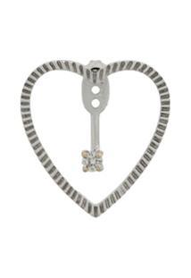 Yvonne Léon Par De Brincos 'Heart' De Ouro 18K Com Diamante - Prateado