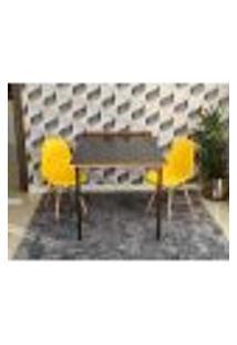 Conjunto De Mesa Dobrável Retrátil 1,40 Preto/Noronha + 2 Cadeiras Eiffel - Amarela