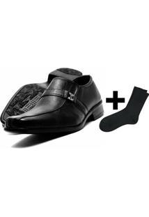 Sapato Social Masculino Em Couro Fox Shoes + Meia - Masculino-Preto