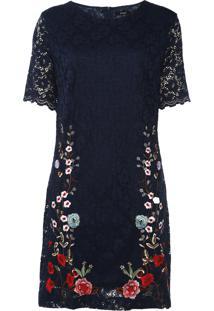 Vestido Desigual Curto Vernis Azul-Marinho - Azul Marinho - Feminino - Poliamida - Dafiti