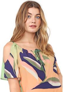 Blusa Morena Rosa Off Shoulder Laranja/Verde