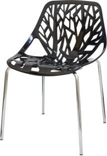Cadeira Planta Preta Base Cromada - 15108 - Sun House
