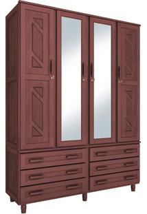 Guarda-Roupa Paris Casal Mogno Fosco Com Espelho 4 Portas Madeira Maciça De Pinus Cavazotto