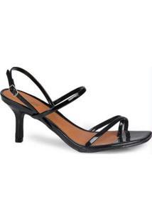 Sandália Salto Fino Lara Bico Quadrado Preto Preto