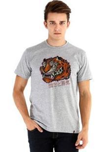 Camiseta Ouroboros Manga Curta Força&Coragem - Masculino-Cinza
