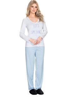 Pijama Vincullus Inverno Listra Azul