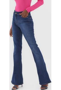 Calã§A Jeans Dzarm Flare Pespontos Azul - Azul - Feminino - Algodã£O - Dafiti