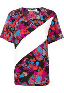 Givenchy Camiseta Floral De Seda - Vermelho