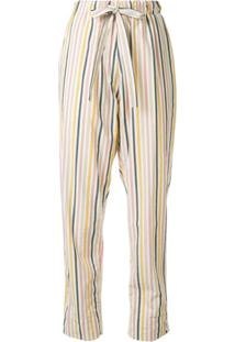 Bassike High Waisted Striped Print Trousers - Rosa