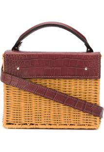 Wicker Wings Woven Basket Shoulder Bag - Marrom