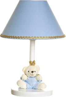 Abajur De Madeira Ursinho Príncipe Bebê Infantil Menino Potinho De Mel Azul - Kanui