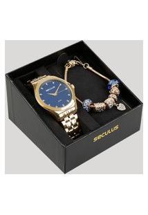 Kit De Relógio Analógico Seculus Feminino + Pulseira - 23632Lpsvds1K Dourado